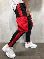 Мужские повседневные спортивные брюки Большие карманы Color Matching Hip Hop Спортивные брюки Мужчины Drawstring Skinsy Trackpants