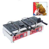Коммерческие 2 шт. Тайяки Машина Большой открытый рот Корейский рыб Вафельский производитель электрические мороженое Waffle Cone Maker Taiyaki Pan NP-709
