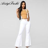 Aisiyifushi Bayan Çan Alt Kot Artı Boyutu Orta Bel Beyaz Kot Kadın Uzun Flared Pantolon Bayan Kış Beyaz Kot Streç LJ200828