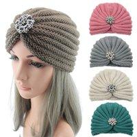 Теплые зимние осень женские девушки богемный стиль вязаные кепки аксессуары для волос тюрбан сплошной цвет мусульманские шляпы головные уборы