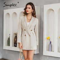 Casual Kleider Simplee Elegante Button Blazer Kleid Frauen Solide Herbst Winter Langarm Office Damen Arbeitskleidung 2021 Vestidos
