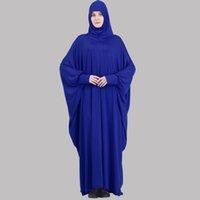 Abbigliamento etnico One Piece Preghiera Outfit Donne musulmane Abaya Jilbaab con maniche Abito Sciarpa attaccata ISLAM HAJJ E UMRAH Vestiti Saudis