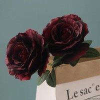 2 Theads / Branche Grande Soie de rose Française Fleur artificielle Flores Artificielles Accueil Décoration de mariage Fleur Artificielle Rose