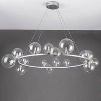 LED Art Deco Bolhas de vidro redondo preta prata candelabro iluminação suspensão Luminária Lampen para sala de jantar