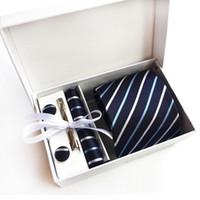 럭셔리 - 새로운 도착 100 % 실크 스트라이프 남자 넥타이 넥타이 세트 짠 공식 착용 비즈니스 웨딩 파티 클래식 Hombre Corbatas K17