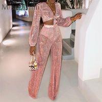 Missychilli Sequin 3 частей костюма Женщины комбинезон ползунки сексуальная широкая нога партия клуб длинный плита элегантный V-образным вырезом розовый комбинезон осень T200701