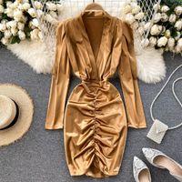 SINGRAIN Women Sexy Deep V Short Autumn Ruched Solid Fashion Pencil Dress Korean Style Chic Slim Streetwear Dresses Q1229