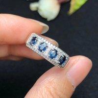 Naturlig safirring, enkel stil, Sri Lanka safir, damring, 925 Silver Custom Number Y1128