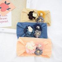 Stoff Mosaik Blume Nylon Kopfschmuck Baby Haarschmuck Kinder Haarband Infant Weiche Haarband Seide Strümpfe Stirnband