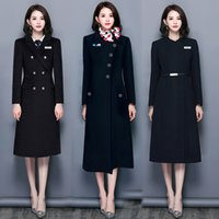 Azadressess Professional Woolen Coat Long Black Sales Department Jewelry Store Trabajo Ropa Slim Invierno