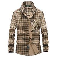 Chemises occasionnelles pour hommes Vinrumika 2021 Européenne Hommes Automne Marque 100% coton Vert Chemise à carreaux Homme Spring Kaki grille Longues Shirts1
