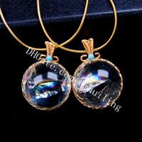 5 pcs fio de ouro fio 30mm arco-íris claro quartzo esfera de cristal esfera orb macrame pingente colar jóias reiki handmade boho embrulhado pedras preciosas