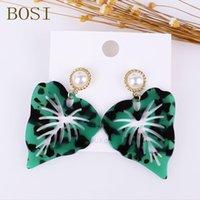 Cuello araña acrílico geométrico verde hoja pendientes para mujeres Boho Resina Drop Horneing Joyería azul Declaración de regalo de boda al por mayor
