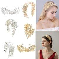 Clips Cheveux Barrettes Coréen Greff Golat Or Couleur Feuille De Mariée Partie Crown Bridal Tiara Mariée Hoop Accessoires Femmes Fille Bijoux Hairban