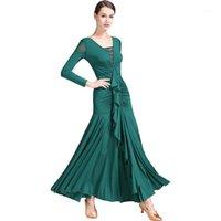 Sahne Giyim Moda Lady Balo Salonu Dans Kostüm Kadınlar Için Seksi Kıdemli Spandex Elbise Rekabet Elbiseler1