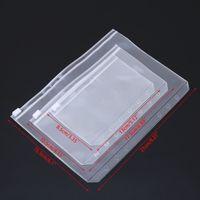 A5 / A6 / A7 PVC الموثق واضح سستة حقيبة التخزين 6 حفرة أكياس القرطاسية للماء مكتب السفر المحمولة وثيقة كيس ffe2683