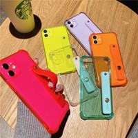 Cinturino in polso fluorescente al neon Custodia per telefono in silicone TPU morbido per iPhone 6 6S 7 8 Plus SE 11 Pro XR X XS Titolare max