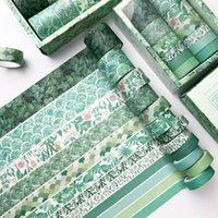 12 pz / set pianta verde washi nastro solido colore mascheramento nastro adesivo decorativo nastro adesivo adesivo scrapbooking diario fornitura di cancelleria