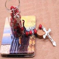 Collar de rosario de cuentas de madera católicas. Classic 6mm Catholic Spented Wood Beads Rosy Cross Collar, Empaquetado de botellas de deriva