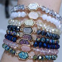 Hot Marke Drusy Druzy Armband 6mm Facettierte Glas Kristall Perlen Elastische Armbänder Für Frauen Mädchen Dame Schmuck