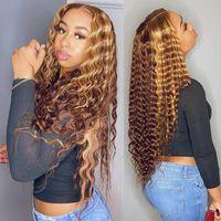 Кудрявые человеческие волосы парик медовый блондинка Ombre 13x1 бразильский коричневый цвет глубокая водяная волна HD полная лобная подсветка Bob кружевные фронтские парики