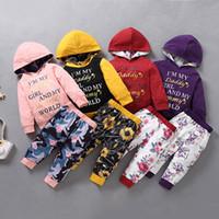 طفلة ملابس زهرة طباعة الملابس مجموعة طويلة الأكمام هوديي السراويل 2 قطع الرضيع أنا أمي يا صديقي و mommy world