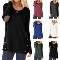 Mode Frauen Tops und Bluse Oansatz Button Patch Lange Ärmel Sweatshirt Easy Tops Plus Size Bluse Frauen Blusas Para Mujer