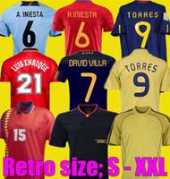 Retro 2008 2012 1996 1994 Final 2010 Espanha Retro Futebol Jerseys Raul A.iniesta Pique Xavi Villa Torres David Villa Camiseta Camisa de Futebol