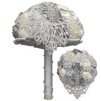 Bouquets de mariée gris de mariage avec des fleurs à la main en diamant pels cristal strass rose fournitures de mariage de mariée tenant bouquet de broche
