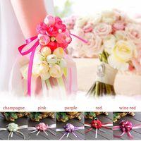 Donne ragazze damigella d'onore da damigella di nozze del polso del polso del polso del fiore del braccialetto del fiore del braccialetto Romatico M968 @ 17 @ 881