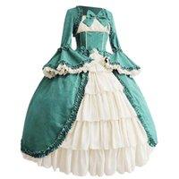 Casual Dresses Vintage Kleid mittelalterliche Robe Cosplay Kostüm Frauen Gothic Court Square Collar Patchwork Bogenkleid # J30