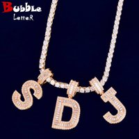 Initial Letter Baguette Letters Pendant A-Z Material Copper Cubic Zircons Hip Hop Rock Street Necklace With Tennis Chain