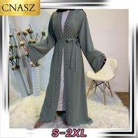 Le perle di modo islamico delle donne di modo Kimono Robe Modest Abito lungo elegante cardigan abbigliamento musulmano frontale aperto Abaya1