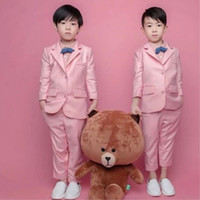 TPSAADE Custom Bill Blazers Counte Kids для свадьбы (пальто + галстук + брюки) дети костюмы розовый цвет куртка Camisa Masculin