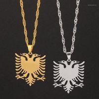 Албания Eagle Beckant Ожерелье Полировка из нержавеющей стали Герб Двухглавый Ювелирные Изделия Этнические подарки для женщин Мужчины Оптовые1