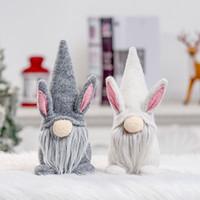 Pasqua Coniglio Gnome Bianco Grigio Grigio Bunny Bunny Dwarf Doll Lovers Kids Pasqua Coniglio Toys Spring Home Office Tavolo decorazione