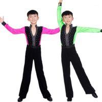 Latin Dancing Tango Mens Kids Morden Shirt Encaje Camisa de manga larga Camisas para niños Baile Wear Ballroom Ragazzo Trajes Niños1