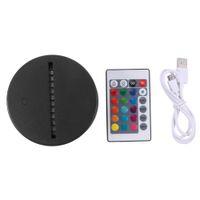 USB-Kabel-Touch 3D-LED-Lichthalter-Lampen-Basis-Nachtlicht Ersatz 7 Farbe bunte Lichtbasis Tischdekorinhalter