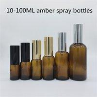 10ml 15ml 20ml 30ml 50ml bottiglia di vetro ambra 100ml 100ml con spruzzatore di alluminio per profumo, bottiglie di vetro spray olio essenziale