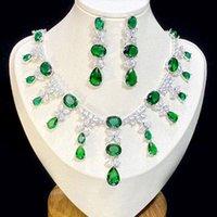 웨딩 여성의 보석 식물 녹색 큐빅 지르코니아 물 방울 목걸이와 귀걸이 세트, 신부 2 피스 쥬얼리 세트 4 종류의 색상