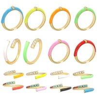 Eheringe Emaille Frauen Ring Gold Farbe Neon grün Gelbe Fluoreszierende CZ Layered Dame Finger Engagement Einstellbar Stapelable1