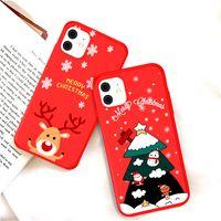 Noel Ağacı Yeni Yıl Hediye Yumuşak Yeşil Telefon Kılıfı iphone 12 Mini 11 Pro Max XR X XS Max 7 8 6 6 S Artı Arka Kapak Kırmızı 100 adet