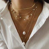 Kedjor Charm Multi Layer Imitation Pearls Pendant Halsband Krage Punk Long Chain Choker Kvinnor Tröja Smycken1