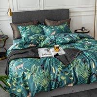 Nordische Bettwäsche-Bettwäsche-Sets Tropische Pflanzen drucken gewaschene Seidekönigin King-Size Bettbezug Bettwäsche Bettwäsche-Kissen-Kissenbezüge T200706