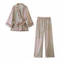 2021 NUEVO DE DOS PIEZAS Camisetas de las mujeres de los pantalones de las señoras de la moda de la vendimia Definan Casual Femenino elegante Blusa Set Girls TTZU