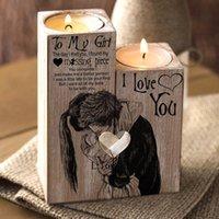 A mi niña 2 unids / set en forma de corazón Craft candelabro candelabro candelero estante Día de San Valentín Decoración Regalo Candlesticks Inicio T200624