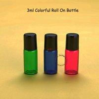 100pcs / lot en gros 3 ml verre rouleau sur bouteille mini conteneur d'huile essentielle 3G parfum remplissable petit emballage avec noirs capitaine qualitty