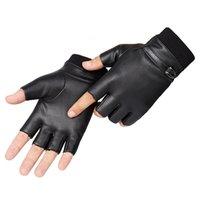 Военно-тактические половинные палец велосипеды зимняя эластичность PU Узнать плюс Pluche Теплая мужская спортивная фитнес вождения перчатки C5