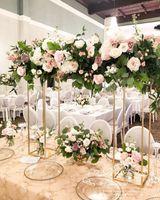5 unids Decoraciones de boda mesa de boda Centerpiece Gold Flower Stand Metal Pilar Pilar Pillars Paseo Soporte Etapa Pantalla Rack1