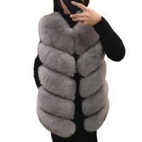 Mujer imitación piel chaleco chaleco de piel invierno invierno cálido piel de piel chaqueta abrigo de gran tamaño ropa exterior damas hembra suave pulpa chaqueta mujer